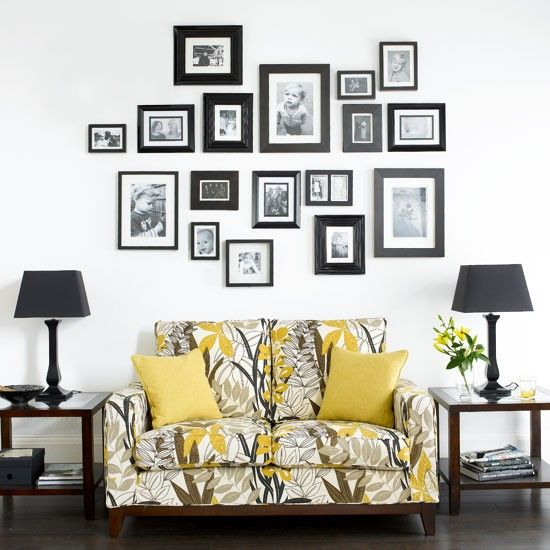Here's a decorating idea that will grow over time as your family does. A family photo wall will form a decorative but personal focal point above a sofa - it's a great conversation starter for guests.