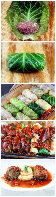 Charutinhos de Repolho com Molho de Tomate Zero (Fase Cruzeriro PL)   Amazing Stuffed Cabbage Rolls