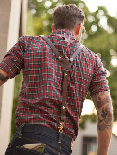 Plaid shirt...worn rather nicely, great leather braces