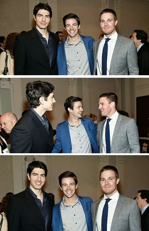 Stephen Amell, Grant Gustin & Brandon Routh at #CWUpfront 2015