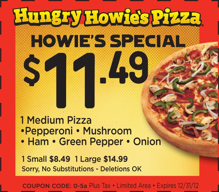 Hungry Howie's Pizza: $11.49 Howie Special Printable Coupon http://takecoupons.net/restaurantscoupons/item/hungryhowiespizzacoupons