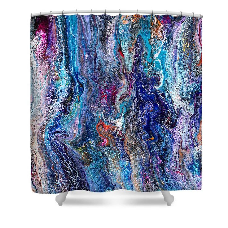 Original Abstract Dynamic Lacy Blue Liquid Art Form Swipe Full Of Seductive Texture And Intrigue With Pink Orange Purple Black Accents Shower Curtain featuring the painting #542 by Expressionistart studio Priscilla Batzell