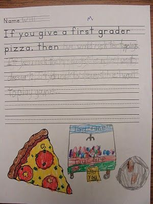 Cause and Effect        If You Give a First Grader Pizza  During our Cause and Effect study, the students had fun finishing the prompt: If you give a first grader pizza, then... There answers were so adorable!
