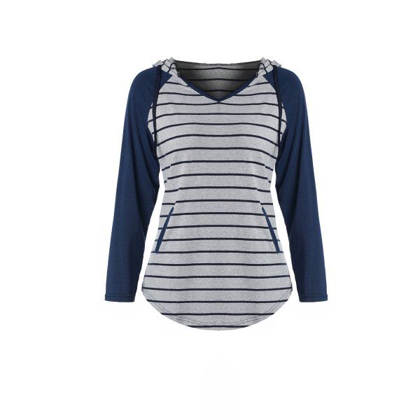 Chic Hooded Long Sleeve Pocket Design Striped Women's Hoodie — 11.18 € Size: XL Color: GRAY