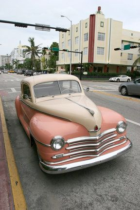 old car in the art deco district of Miami Beach