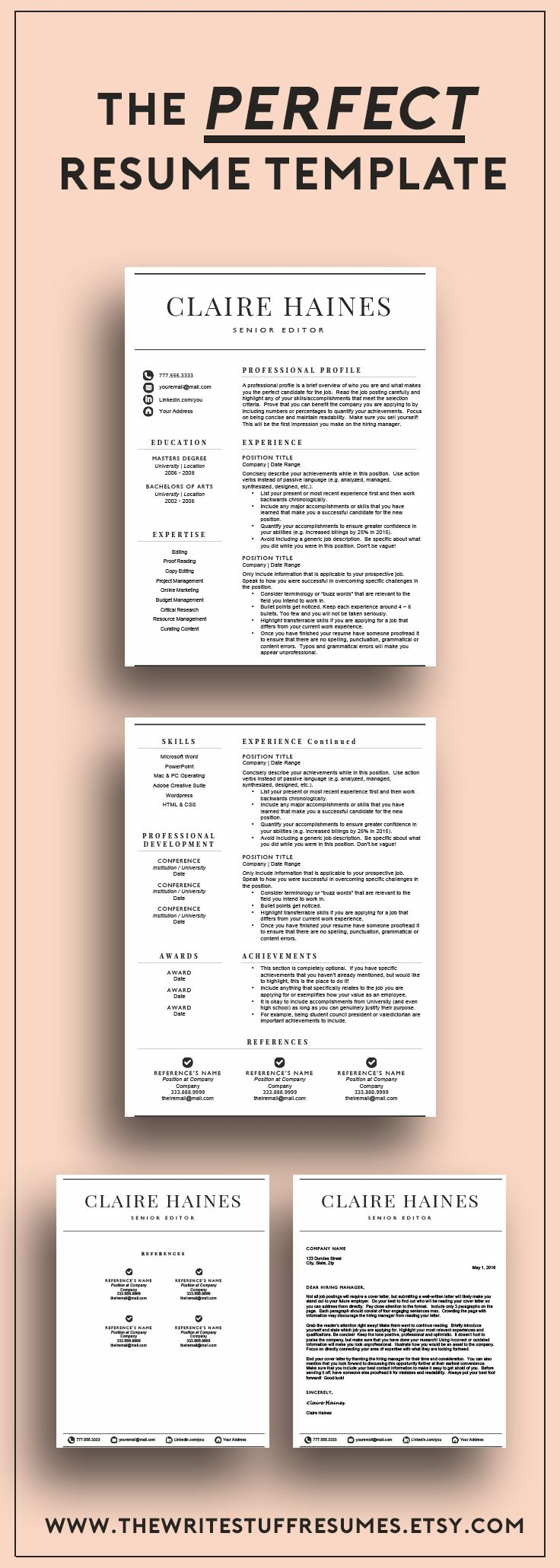 Best $15.00 ever spent!  Upgrade your generic CV with a professionally designed resume template guaranteed to make you stand out from the competition!  www.thewritestuffresumes.etsy.com