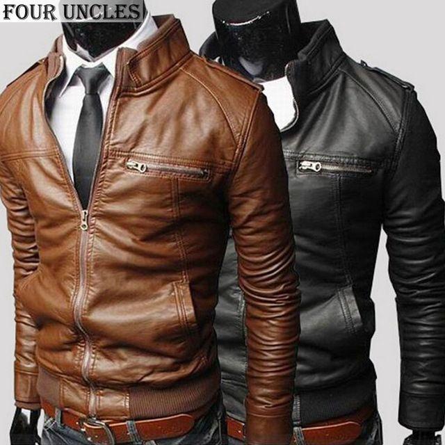 Chaqueta de cuero casual hombres otoño invierno moda de nueva Cremallera Delgado Chaquetas de La Motocicleta de Cuero de Imitación solid Men coat jaqueta, MM1139