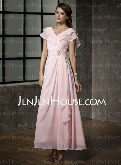 Mother of the Bride Dresses - $162.39 - A-Line/Princess V-neck Floor-Length Chiffon  Charmeuse Mother of the Bride Dresses With Ruffle (008006120) http://jenjenhouse.com/A-line-Princess-V-neck-Floor-length-Chiffon--Charmeuse-Mother-Of-The-Bride-Dresses-With-Ruffle-008006120-g6120
