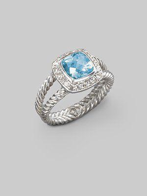 David Yurman ring  Beautiful  blue topaz with diamonds