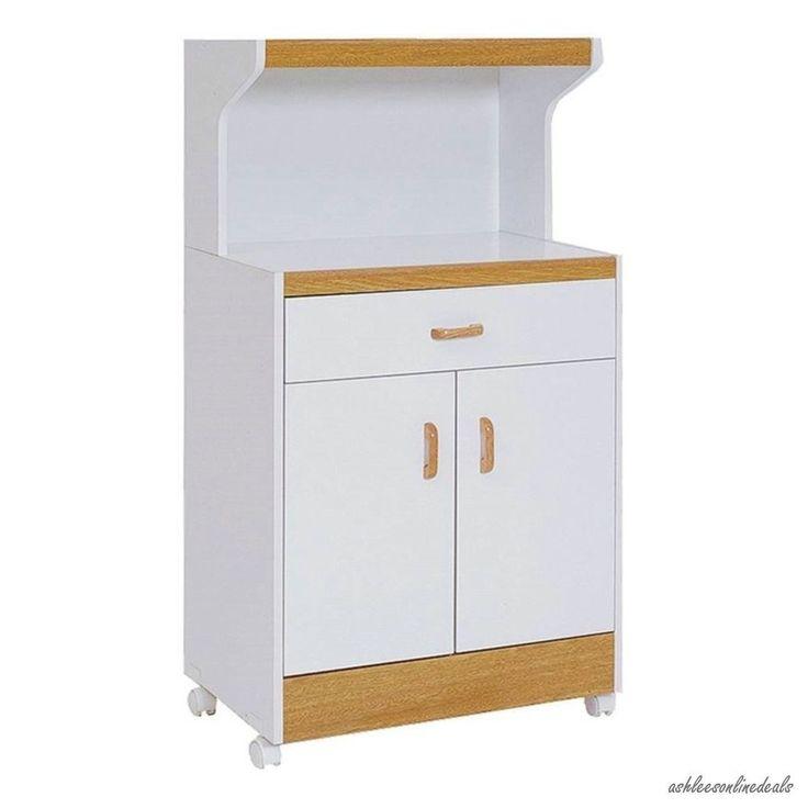 Microwave cart storage kitchen appliances portable rolling - Kitchen appliance storage cabinet ...
