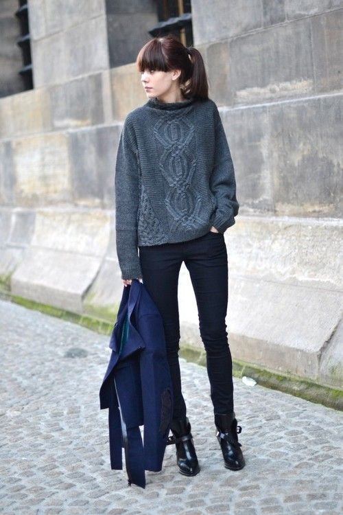 Chunky knit sweater + slim-fitting trousers
