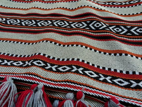 "Mexican throw blanket, Boho Beach Blanket, Tribal Aztec Blanket, Folk Hippie Blanket Wrap, Southwestern blanket, 38 x 59"" inches, Sofa Throw"