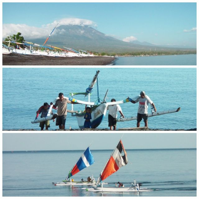 Amed : a most beautiful fishermen village, east of Bali. Imagine black-sandy beaches with Mount Agung in the backdrop, breathtaking! Came for one night and stayed a whole week! :) Absolutely <3 the place