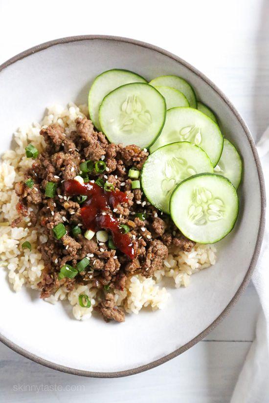 Korean Beef Rice Bowls | Skinnytaste.com | Bloglovin'