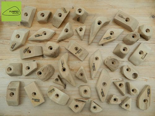 A selection of wooden #climbing #holds from the Pumped Holds range @Pat Stallone Holds
