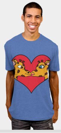 Kissing Giraffes Shirt  #designbyhumans #shirts #tshirts #giraffes #giraffe #kissinggiraffes #animals #funny #cute