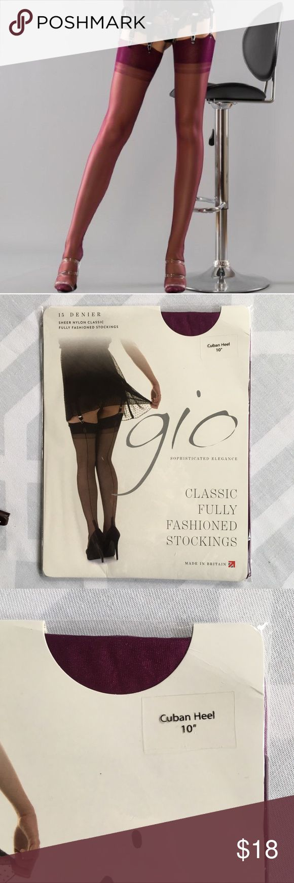 """GIO Cuban Heel Contrast Seam Stockings GIO Purple Cuban Heel Contrast Seam Thigh High Stockings. 10"""" Cuban Heel Detail at Ankle. Fully Fashioned (FFS) High Quality, Vintage Pin-up Burlesque Style, Modern Fit. Sheer 15 Denier Hold Ups. Perfect with a sexy garter.  """"Gio are a British hosiery house who use the finest nylon to lovingly produce hand made, sheer 100% nylon fully fashioned stockings.""""  New, New With Tags, NWT, NIB, Never Worn.   Size Medium, 10, UK 6-7, EU 39-40  {1st pic is a…"""