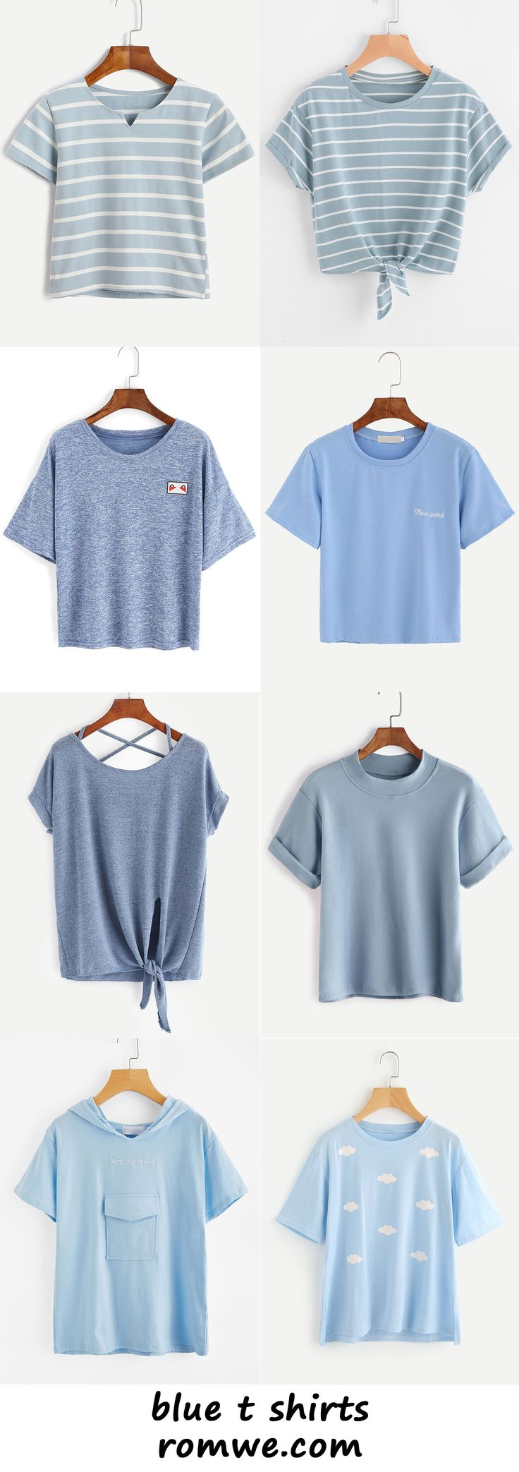 blue t shirts 2017 - romwe.com - here is where you can find that Perfect Gift for Friends and Family Members