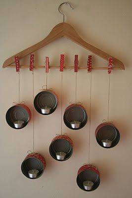 another way to hang candles - une autre facon d'accrocher les boites de conserve porte bougies
