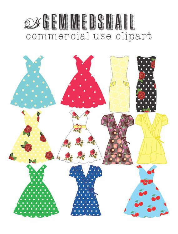 Tea party dress clip art, tea party dresses, tea party bunting flag, fashion clip art