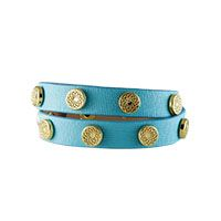 TURQUOISE SIGNATURE WRAP WITH GOLD STUDS