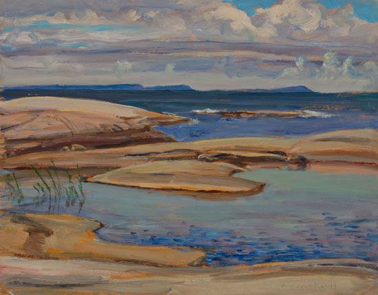 A.Y. Jackson - Looking South from Long Island Go Home Bay 10.5 x 13.5 Oil on board