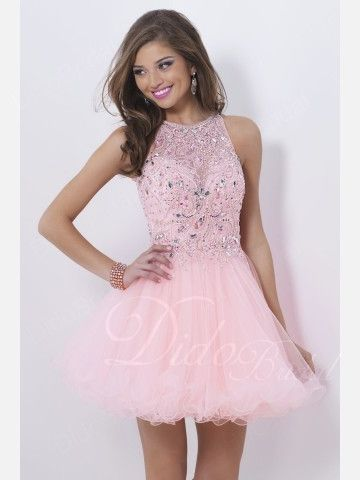 High Collar Beaded Tulle Short Homecoming Dress