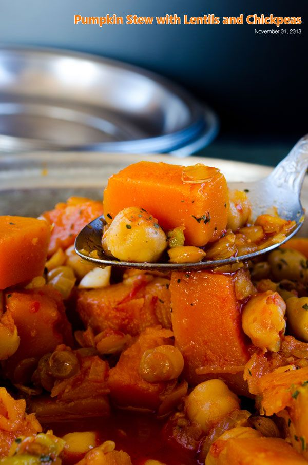 Pumpkin stew with lentils and chickpeas make a wonderful Fall recipe. This is a classic savory pumpkin recipe you will love.