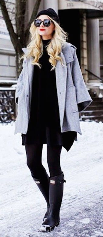 #winter #fashion / all black + gray coat