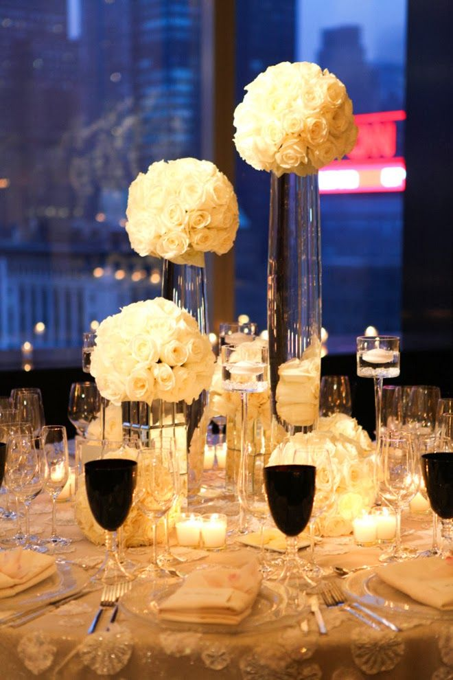 white roses + mirror bases ~ Photography: Anthony Vazquez, Floral Design: TantawanBloom