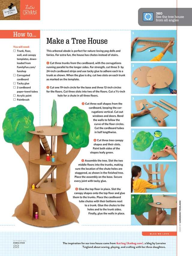 Make a tree house out of cardboard.         Adam.    ....a cute LPS or Playmobile tree house !!