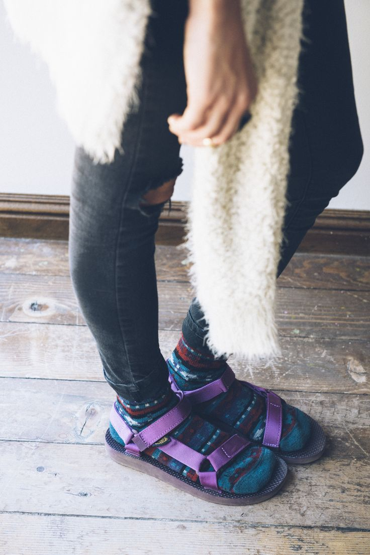 I bought this purple pair too - the teva addiction is real. | See more about Addiction, Sock and Sandals.