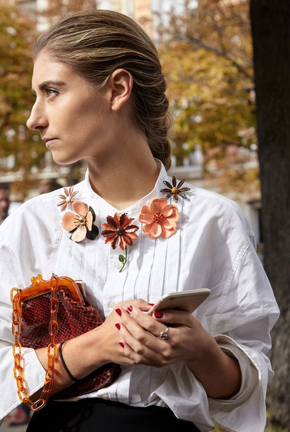Paris Fashion Week captured by photographer Andreas B. Krueger for Street Style Adorn Jewellery Blog Flowers Brooches