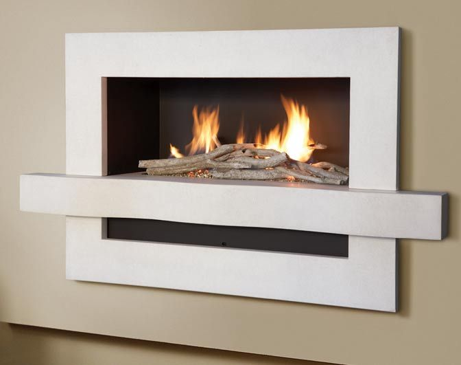The Flamewave - Contemporary shelf fire, simple gas fireplace, with driftwood