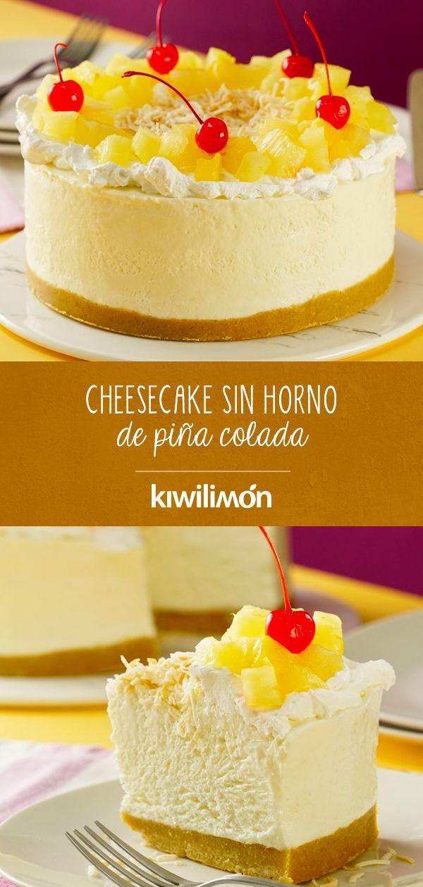 Cheesecake Sin Horno De Piña Colada Receta Postres Fríos Recetas Faciles Postres Cheesecake Sin Horno