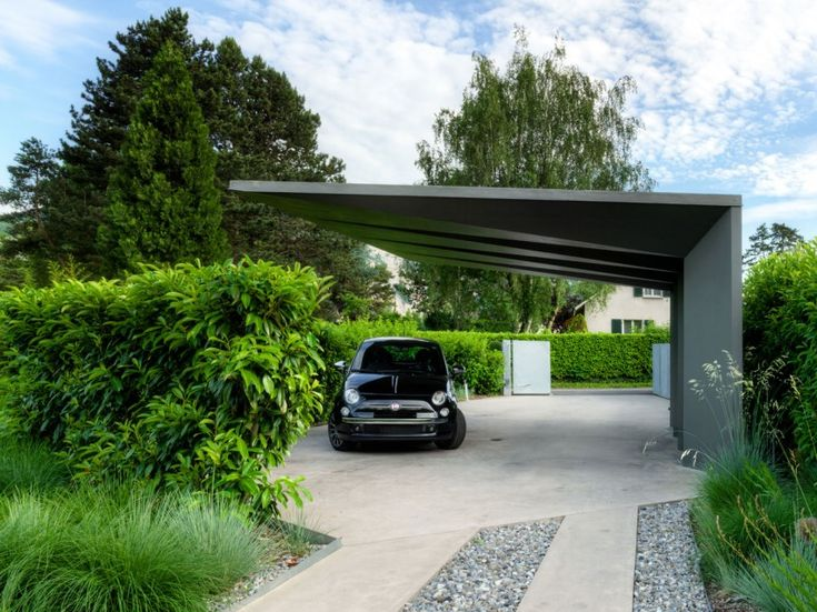 "Cool ""car shelter"" at 2LB House, Geneva, Switzerland by Raphaël Nussbaumer Architectes"