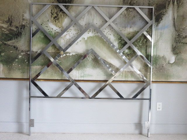 Mid-Century Modern Chrome Queen Size Headboard By Milo Baughman. by FLORIDAMODERN on Etsy