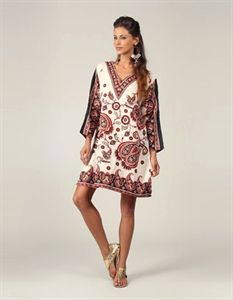 Black and Beige Printed Tunic Top