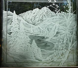 Etched aspen tree and evergreen trees panel with Maroon Bells