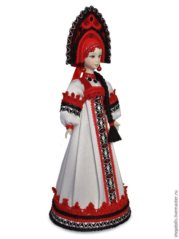 Купить Кукла-конфетница Олеся - красный, белый, черный, фарфор, коллекционная кукла, ручная работа