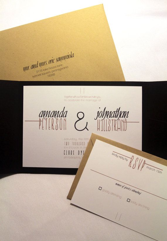 Modern Rustic Wedding Invitation Pocketfold,  Custom Invites, Black and White, Kraft Paper, Industrial Chic, Stationery and Party