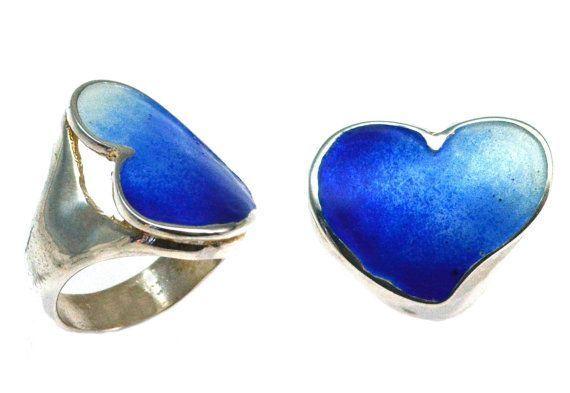Heart Ring, Red Enamel Heart Ring, Blue Heart Ring, Heart Valentine, Gift for her, Valentine gift