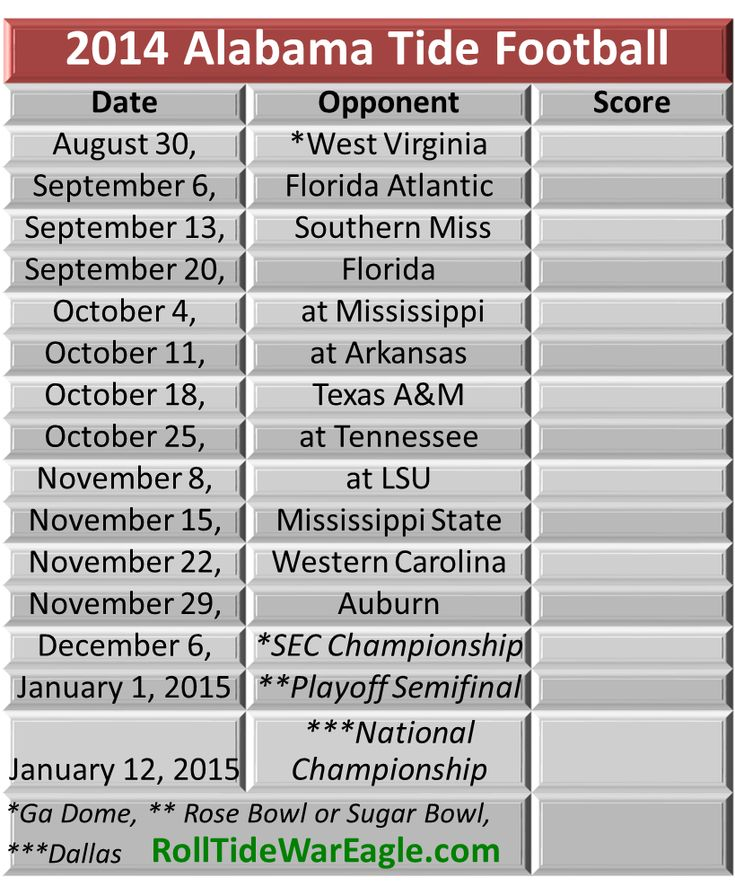 Alabama Football Schedule 2014 Roll Tide from  RollTideWarEagle.com sports stories that inform and entertain from around the #SEC. #Collegefootball #Alabama