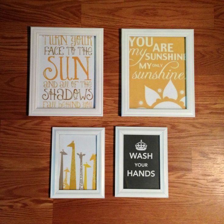 Decorating on a tight budget. Wall art. Bought dollar store frames for dollar each & spray painted the white. Added cute sayings and pictures that i got off the internet and printed at Office Depot. Theme is yellow sunshine to go into my bathroom. Total cost $7.00