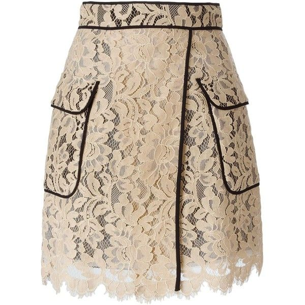 MSGM Floral Lace Piped Skirt (€480) ❤ liked on Polyvore featuring skirts, bottoms, flower print skirt, floral skirt, pink lace skirt, floral printed skirt and lacy skirt