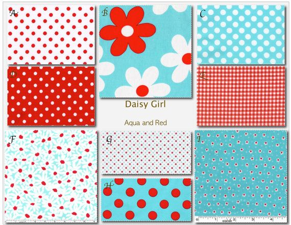 Daisy Girl in Aqua and Red Crib Bedding Design Your Own Crib Set by MissPollysPieceGoods