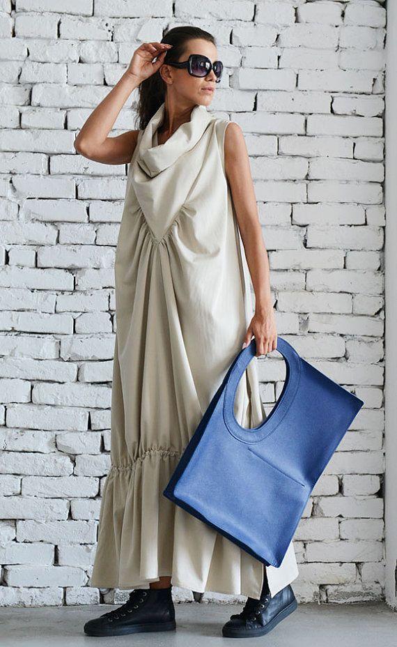 Asymmetric Loose Long Dress/Cream Color Kaftan/Oversize