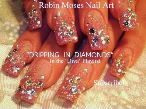 Nail Art Tutorial | Pink Nails dripping in DIAMONDS! | DIY Design Tutorial - YouTube by Robin Moses