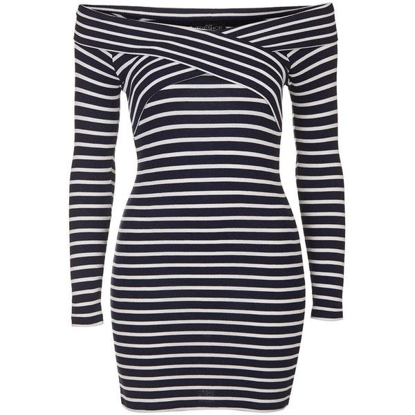 TOPSHOP PETITE Stripe Bardot Dress featuring polyvore, fashion, clothing, dresses, navy blue, petite, topshop dresses, striped dress, topshop, long sleeve stripe dress and stripe dress
