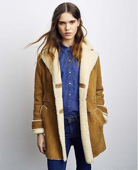 Manteau en cuir VELOTTE - Couleur CHAMOIS